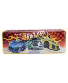 Hot Wheels Magentic Pencil Box With Side Compartment - Yellow