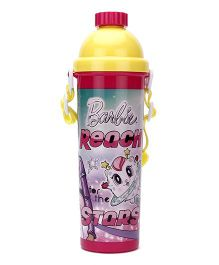 Barbie Star Print Water Bottle Pink And Yellow - 700 ml