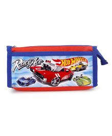 Hot Wheels Double Zip Pencil Pouch - Blue And Red