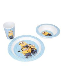 Minions Kids Microwave Set Of Plate Bowl and Glass - Blue