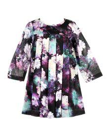 Hugsntugs Herringbone Weave Floral Dress - Multicolor