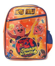 Motu Patlu Khali Pet Print Backpack Orange - 14 inches