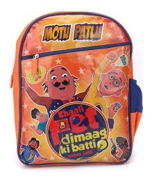 Motu Patlu Khali Pet Print Backpack Orange - 16 inches