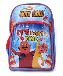 Motu Patlu Party Time School Backpack Blue - 18 inches