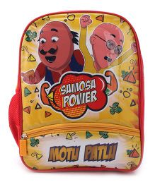 Motu Patlu Samosa Power Print Backpack Red & Yellow - 14 inches