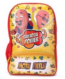 Motu Patlu Samosa Power Print Backpack Red & Yellow - 18 inches