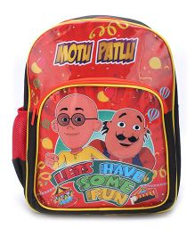 Motu Patlu Lets Have Some Fun Backpack Red - 16 inches