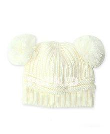 Pikaboo Woolen Bunny Baby Cap - White