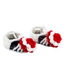 Pikaboo Flower Adorned Crochet Booties - Grey And White