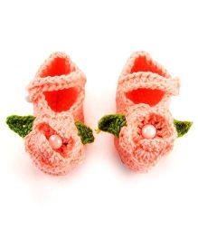 Pikaboo Crochet Baby Booties Floral Applique - Peach
