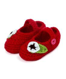 Pikaboo Button Up Crochet Booties With Leafy Flower - Red