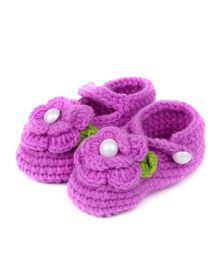 Pikaboo Crochet Baby Booties Floral Applique - Purple