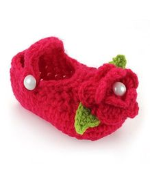 Pikaboo Crochet Baby Booties Floral Applique - Dark Pink