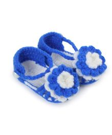Pikaboo Flower Adorned Crochet Booties - Blue And White