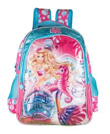 Barbie Mermaid Princess School Backpack Blue And Pink - 18 inches