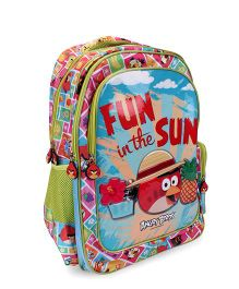 Angry Birds Fun In The Sun Print School Backpack - Green And Blue