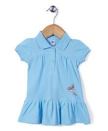 Zero Short Sleeves Frock Butterfly Print - Sky Blue