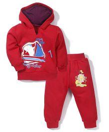 Babyhug Hooded T-Shirt And Pant Boat Print - Red