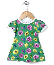 Cucumber Half Sleeves Frock Allover Floral Print - Green
