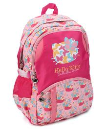 Hello Kitty School Bag Butterfly Print Pink - 19 Inches