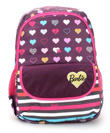 Barbie School Backpack Heart Print Pink And Purple - 17 inch