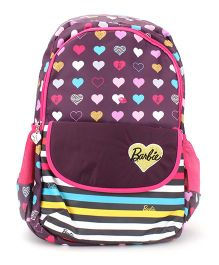 Barbie School Backpack Heart Print Pink And Purple - 19 Inch