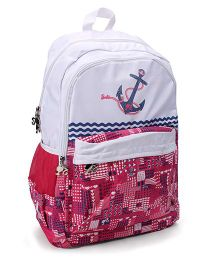 Barbie Anchor Print Schoo Bag Pink & White -  19 inches