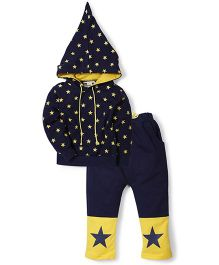 Superfie Hooded Star Print Two Piece Night Suit - Blue