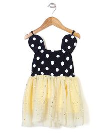 Superfie Stylish Dotted Dress - Black & Yellow