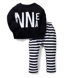 Superfie Stripe Two Piece Night Suit - Black & White
