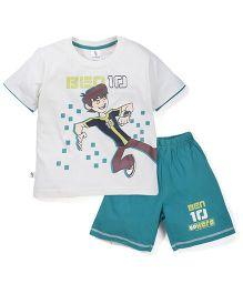 Cucumber Ben 10 Print T-Shirt & Shorts Set - White & Green