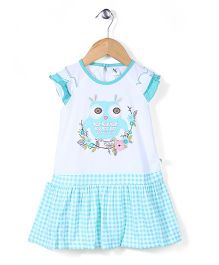 Cucumber Short Sleeves Frock Owl Print - Light Blue