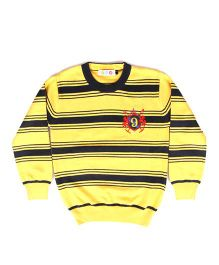 Kids On Board Full Sleeves Striped Sweater - Yellow