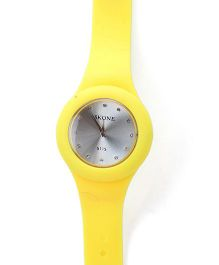 Analogue Wrist Watch Round Shape Dial - Yellow and Silver