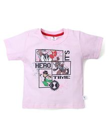 Cucumber Short Sleeves It's Hero Time Print T-Shirt - Pink