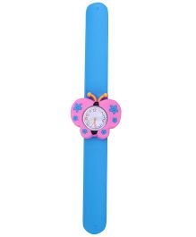 Slap Style Analog Watch Butterfly Design Dial - Pink And Blue