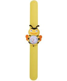 Slap Style Analog Watch Bee Design Dial - Yellow