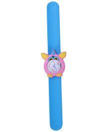 Slap Style Analog Watch Owl Design Dial - Blue & Pink