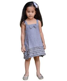 Snowflakes Sleeveless Frock Bow Accent - Grey