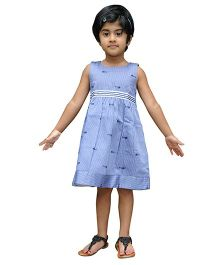 Snowflakes Sleeveless Frock Fish Print - Blue