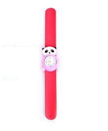 Slap Style Analog Watch Bear Shape Dial - Pink And Red