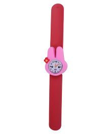 Slap Style Analog Watch Rabbit Design Dial - Red & Pink