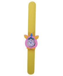 Slap Style Analog Watch Owl Design Dial - Yellow & Light Pink