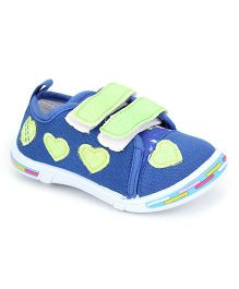 Peach Girl Canvas Shoes Heart Applique - Blue