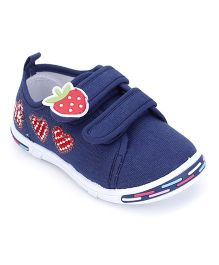Peach Girl Casual Shoes Strawberry Applique - Navy