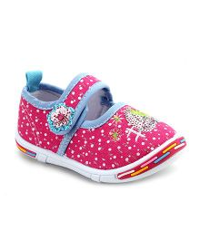 Peach Girl Casual Shoes Floral Applique - Pink