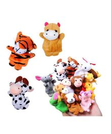 Kuhu Creations Animal Finger Puppets Pack Of 12 - Multi color