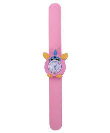 Slap Style Analog Watch Owl Design Dial - Light Pink