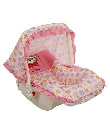 1st Step Carry Cot Cum Rocker Teddy & Flower Print - Pink
