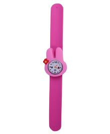 Slap Style Analog Watch Rabbit Design Dial - Fuchsia Pink